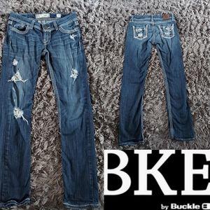 BKE Stella Straight Jeans White Stitch Size 27